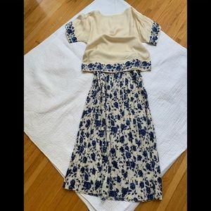 Silk ivory/blue top & pleated skirt set